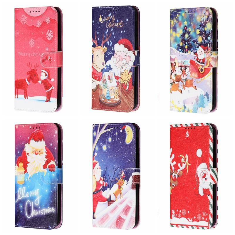 Xmas joyeux noël cadeau cadeau portefeuille de portefeuille pour iPhone 13 12 11 xs max xr x 8 7 plus 6 6S Santa Claus chapeau Tree Deer Snowman Snowman Credit ID Credit ID Credit Slot Porte-Terrain
