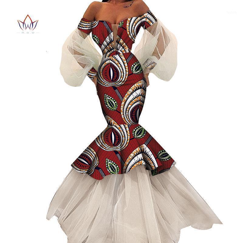 여름 아프리카 드레스 여성 패션 디자인 Dashiki 여성 Bazin Riche 긴 레이스 드레스 전통 플러스 크기 자연 WY46161