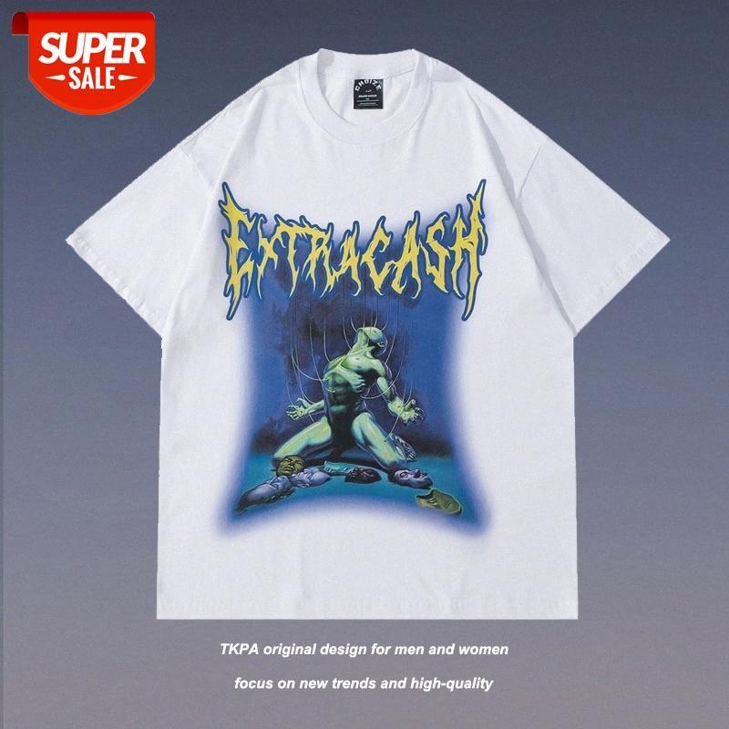 Streetwear Männer TKPA Amerikanische High Street Drucken Kurzarm T-Shirt für und Frauen Ins Tide Marke Hiphop Lose halbärztliches Top com # by6a
