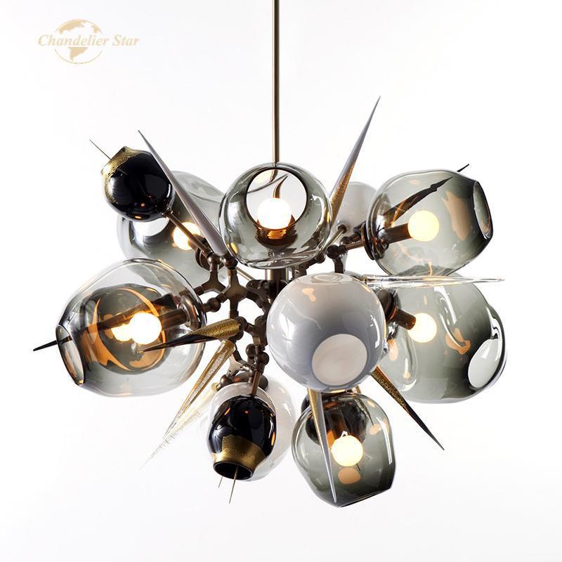 현대 LED 샹들리에 조명 노르딕 분자 유리 금속 실내 조명기구 홈 장식 침실 거실 램프