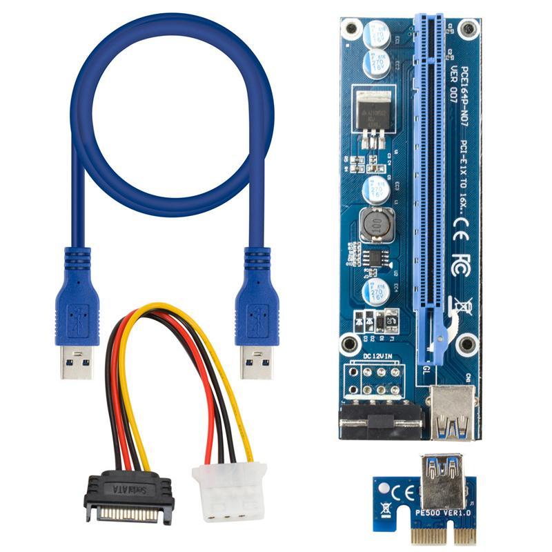 بطاقات PCI-E RISER 4PIN 6PIN VER 007 1 X16 USB 3.0 Minings Machine PCIE-Riser Bitcoin بطاقة التعدين