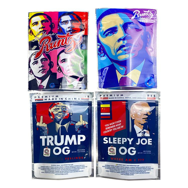 Vuoto Obama Runtz3.5G Trump OG Sleepyy Joe Biden Borsa da imballaggio con cerniera Stand Up Pouch 420 Sacchetti di plastica per il fiore dell'erba asciutta