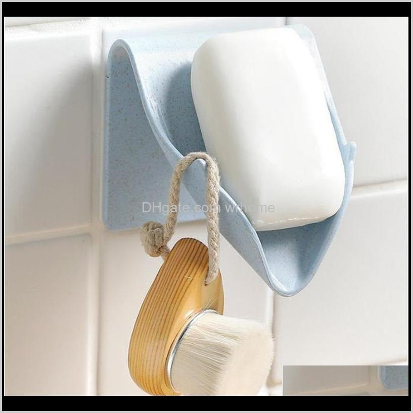Dishes Aessories Bath Home & Gardenwall Mounted Soap Holder Self Adhesive Dish Storage Box With Drain Bathroom Shower Tray Plate No Drilling