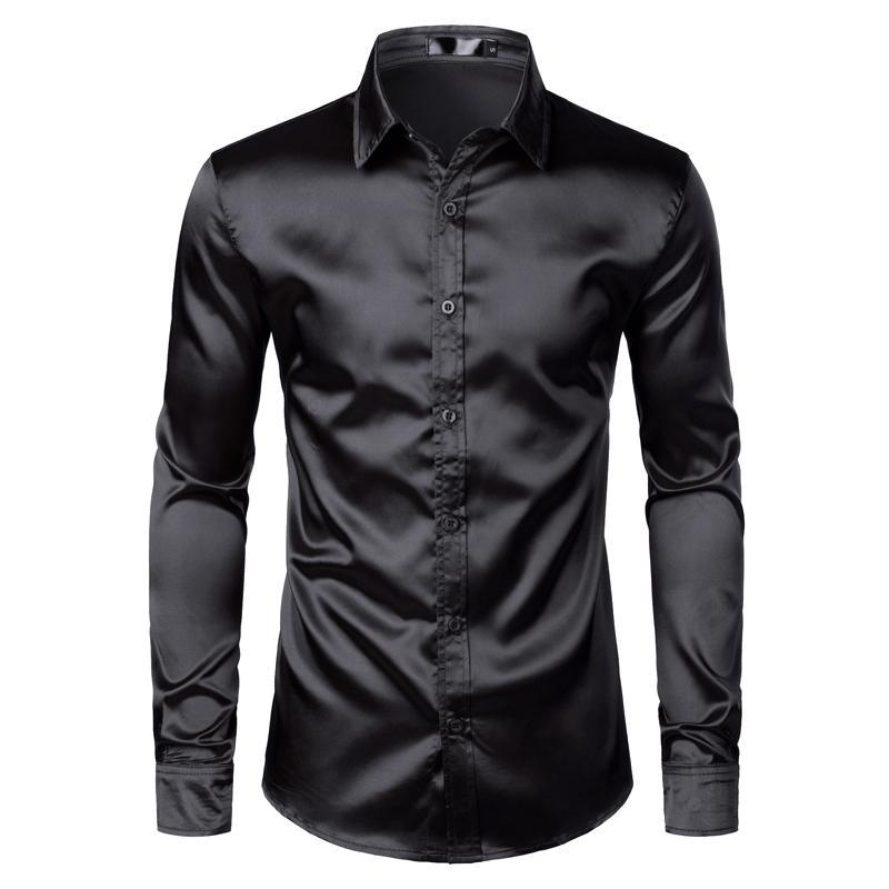 남성용 검은 새틴 럭셔리 드레스 셔츠 2021 실크 부드러운 남자 턱시도 셔츠 슬림 맞는 결혼식 파티 댄스 파티 캐주얼 chemise homme