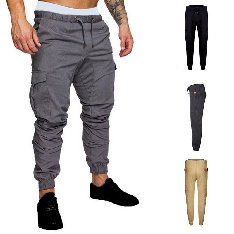 Hombres multil-bolsillo harén pantalones de moda cadera cargamento pantalones de calle Streetwear Sweetpants Hombre masculino casual lápiz fino hombres