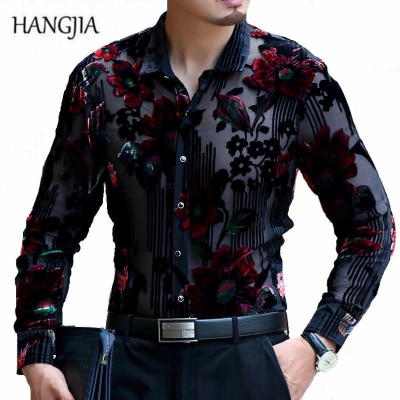 [Hangjia] высококачественные роскошные полые золотые бархатные тонкие рубашки мужчина 2021 мода темперамент большой размер с длинным рукавом флористическая рубашка M-4XL мужская касуа