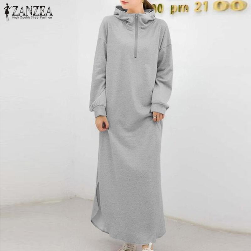 캐주얼 드레스 Zanzea 세련된 가을 긴 소매 스웨터 sundress 여성 분할 드레스 여성 분할 Maxi Vestidos Robe Femme Plus 크기 5
