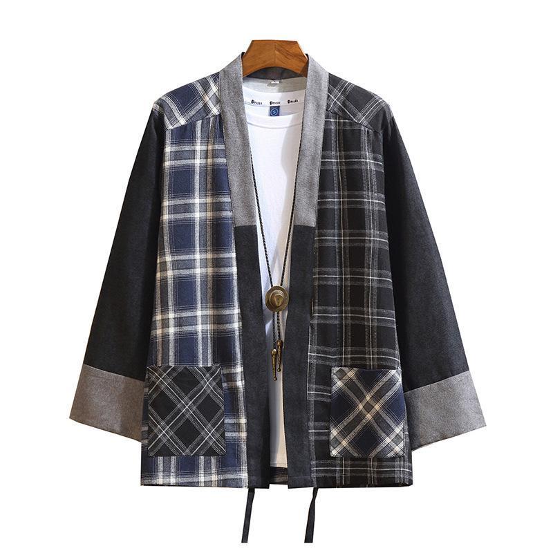 일본 남성 코튼 체크 무늬 기모노 일본 Haori 외부복 Hanten 코트 패션 남성 사무라이 의류 유카타 의류 소수 민족