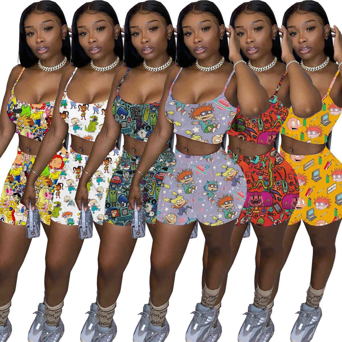Summer Women Tracksuits Sexy Shorts 2 Two Piece Pants Set Cartoon Printed Outfits Lady Jogger Suits Suspender Top Plus Size Clothing 849