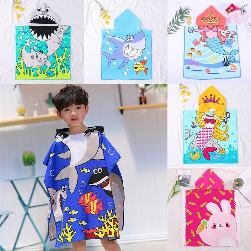Meerjungfrau Bademantel Wasserdichte Kinder Roben Cartoon Tier Einhorn Hai Nachthemd Kinder Strandtuch Mit Kapuze Bademäntel
