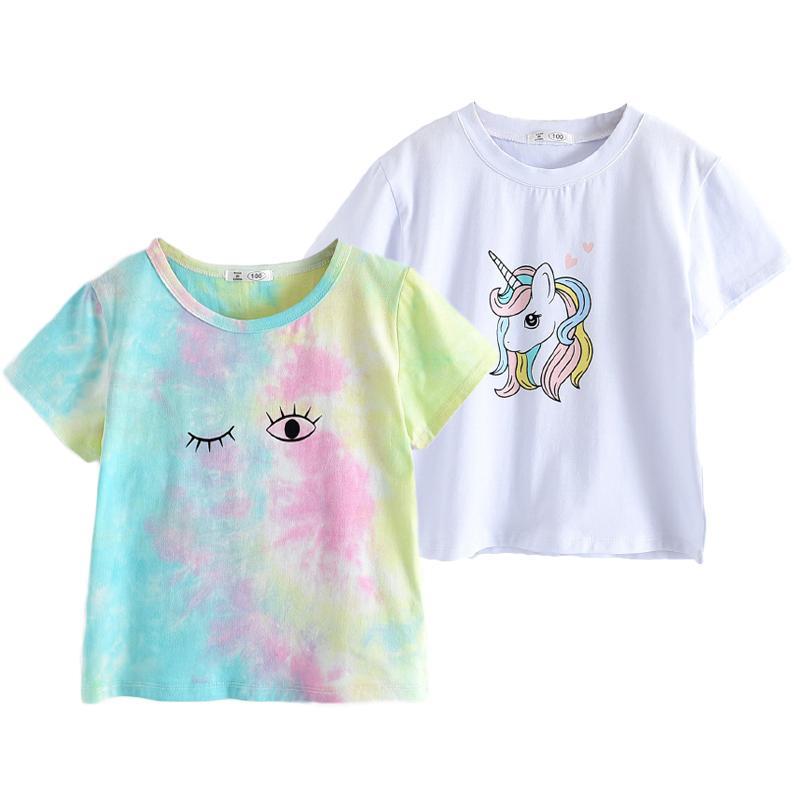 Melario Fashion Unisex T-shirt Children Girls Short Sleeves Tie Dye Tees Baby Kids Cotton Tops For Girls Clothes 2 6Y 210412