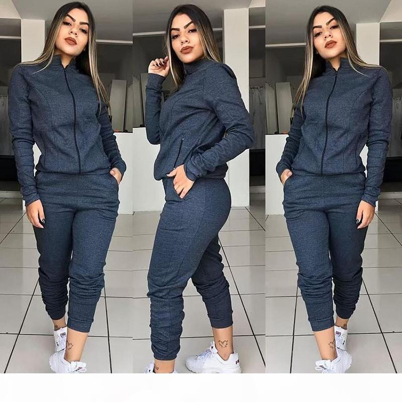 Designer Tracksuits Stand Collar Zipper Fly Two Piece Outfits Fashion Casual Womens Tracksuits Solid Color Women