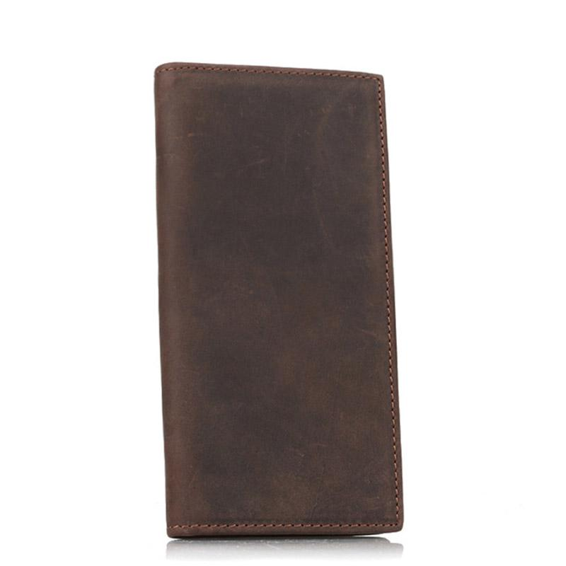 Men Genuine Leather Long Purse Bifold Thin Coin Bag holder Case Wallets