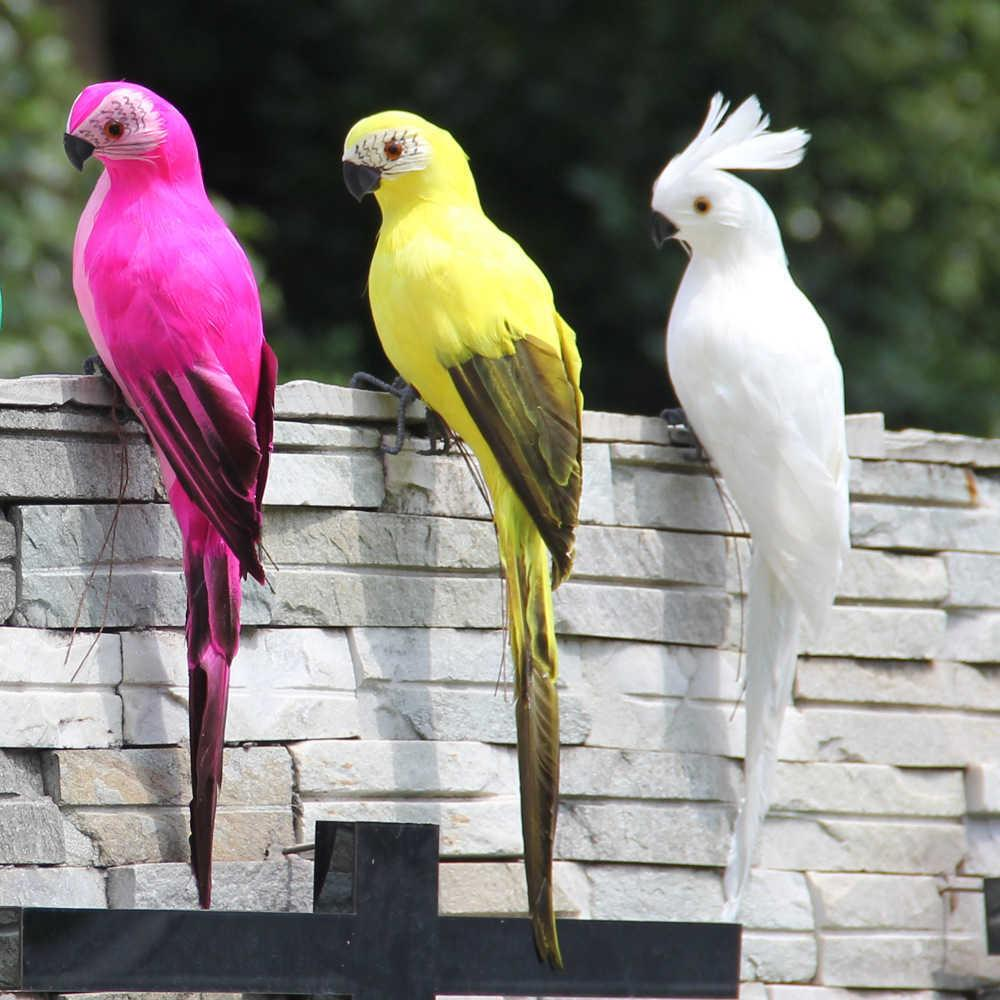 35cm Simulation Papagei Ornament Feder Falscher Vogel Macaw Anhänger Fenster Indoor Garten Dekoration Handwerk