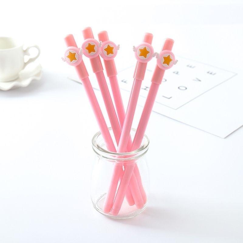 40 pcs cartoon menina coração mocha menina asas estrela caneta neutra caneta rosa estudante canetas para escola kawaii papelaria atacado presentes 210330