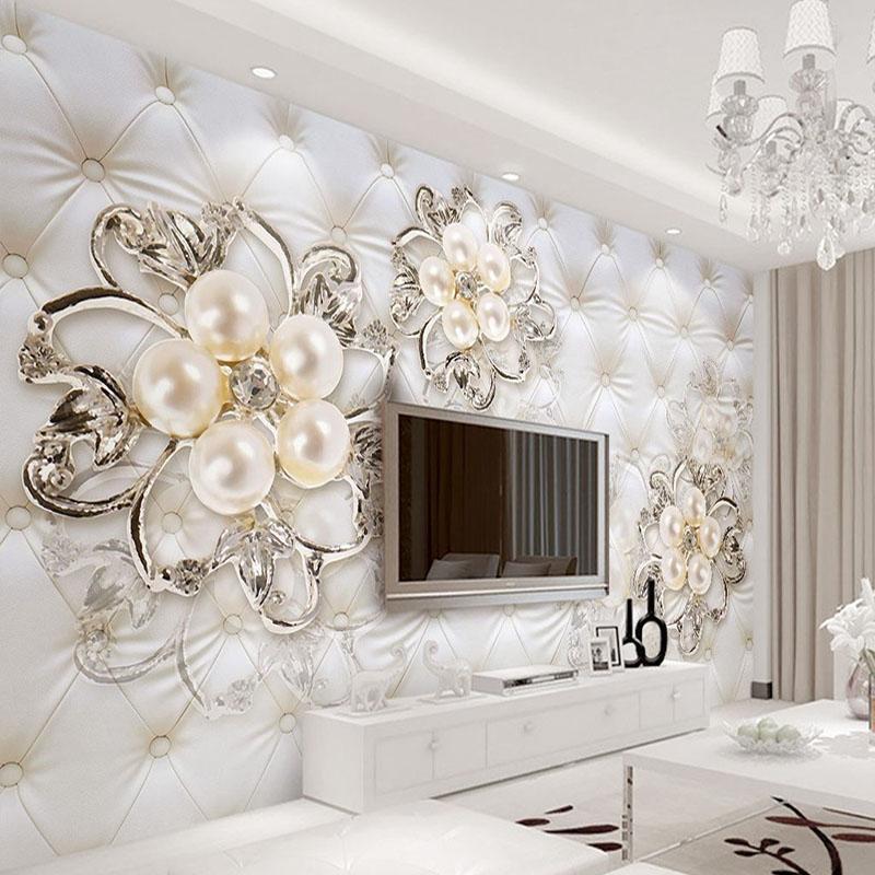 Wallpapers personalizado 3d mural papel de parede para paredes estilo europeu pacote macio diamante pérola flor sala de estar tv pano de fundo moderna parede cobrindo