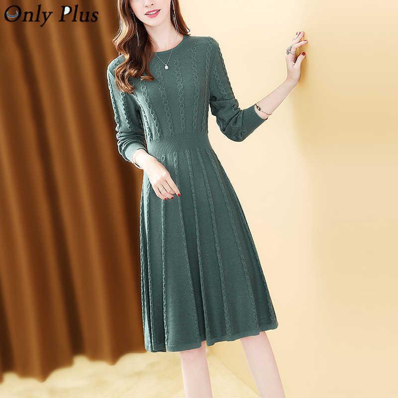 Green Damen Kleid Winter Strick Twist Pullover Kleider Vintage Slim Elegante Oansatz Casual Chic A-Linie Gestriebene Feste Vestidos 210603