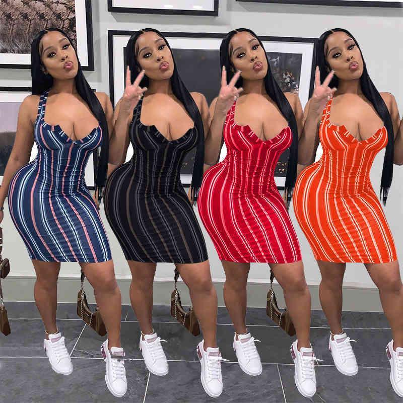 Летние сексуальные женщины платье 4 цвета дизайнерские моды сексуальные V-образные женские женские повседневные простые полосатые печатные платья без рукавов жилет короткая юбка D479