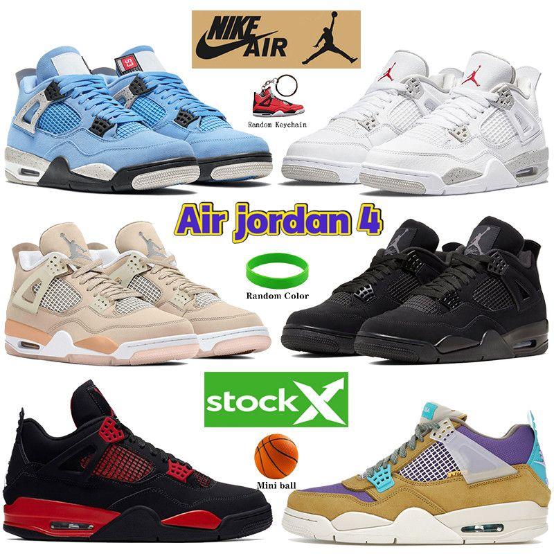 Universidade Azul Air Jordan 4 4S Homens Basquetebol Sapatos Branco Oreo Paris Metálico Roxo Roxo Gato Preto Shimmer Criado Sneakers Treinadores