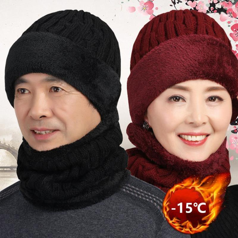 Beanies Unisex Winter Hat Keep Neck Warmer Set Thick Beanie Casual Hats For Men Women Add Fur Lining Warm Knitted