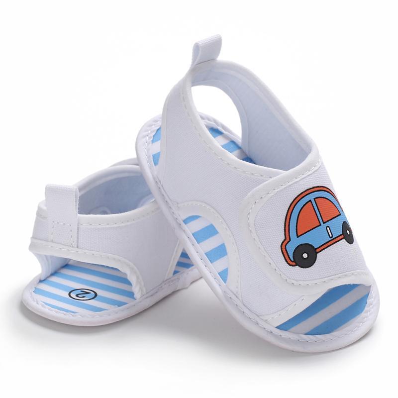아기 소년 소프트 솔 유아용 신발 0-18M 태어난 유아 유아 패션 여름 샌들 만화 자동차 인쇄 캐주얼
