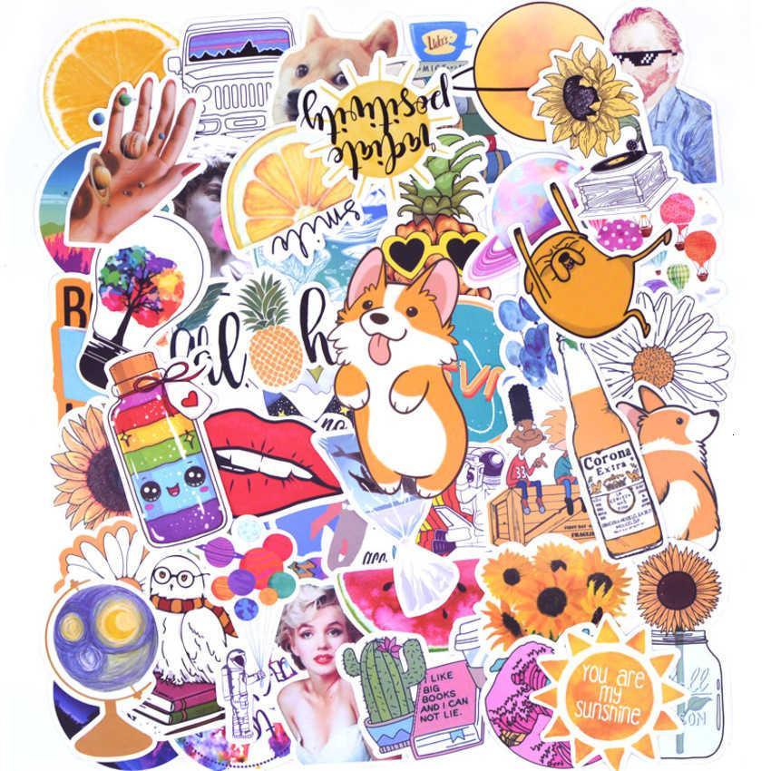 50pcs 멋진 여름 VSCO 스티커 팩 핑크 소녀 애니메이션 자세 랩톱 냉장고 전화 스케이트 보드 가방 스티커 NV8G