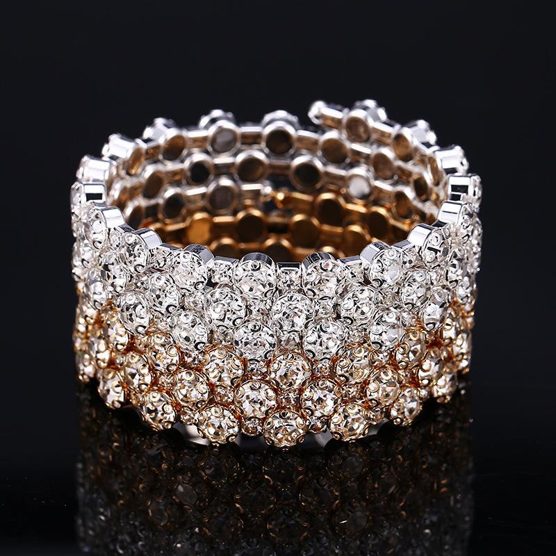 Boda brillante pulsera nupcial oro plata plateado 3 fila 5 filas rhinestone promedio de fiesta joyería arabe estiramiento brazalete mujer accesorios