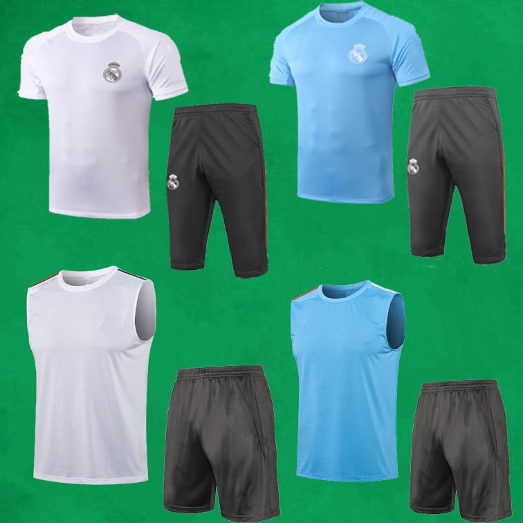 REAL MADRID Fussball Training Anzüge 21 22 Kurzarm Fußball Trainingsanzug Männer Sportwissenschaften + 3/4 Hosen Erwachsene Int Shirts und Shorts MAILLOTS