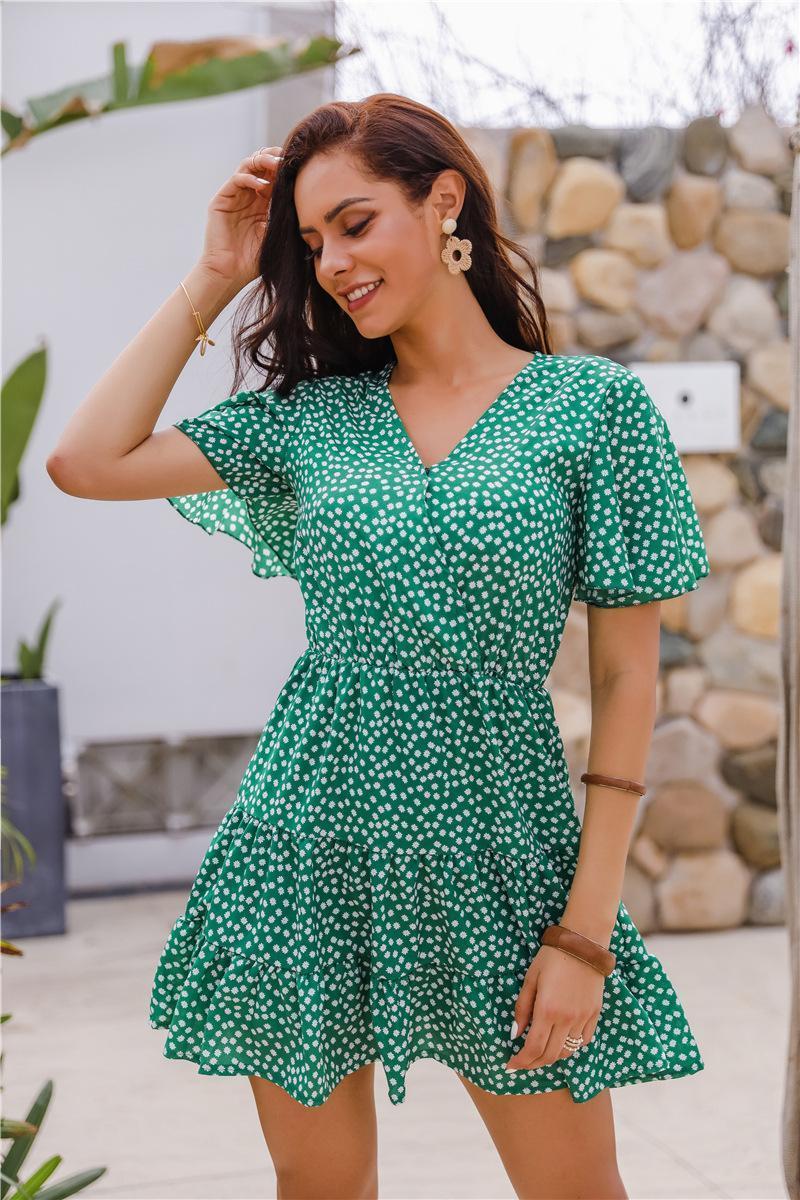 여성 V 넥 인쇄 드레스 임신 출산 가운 옷차림