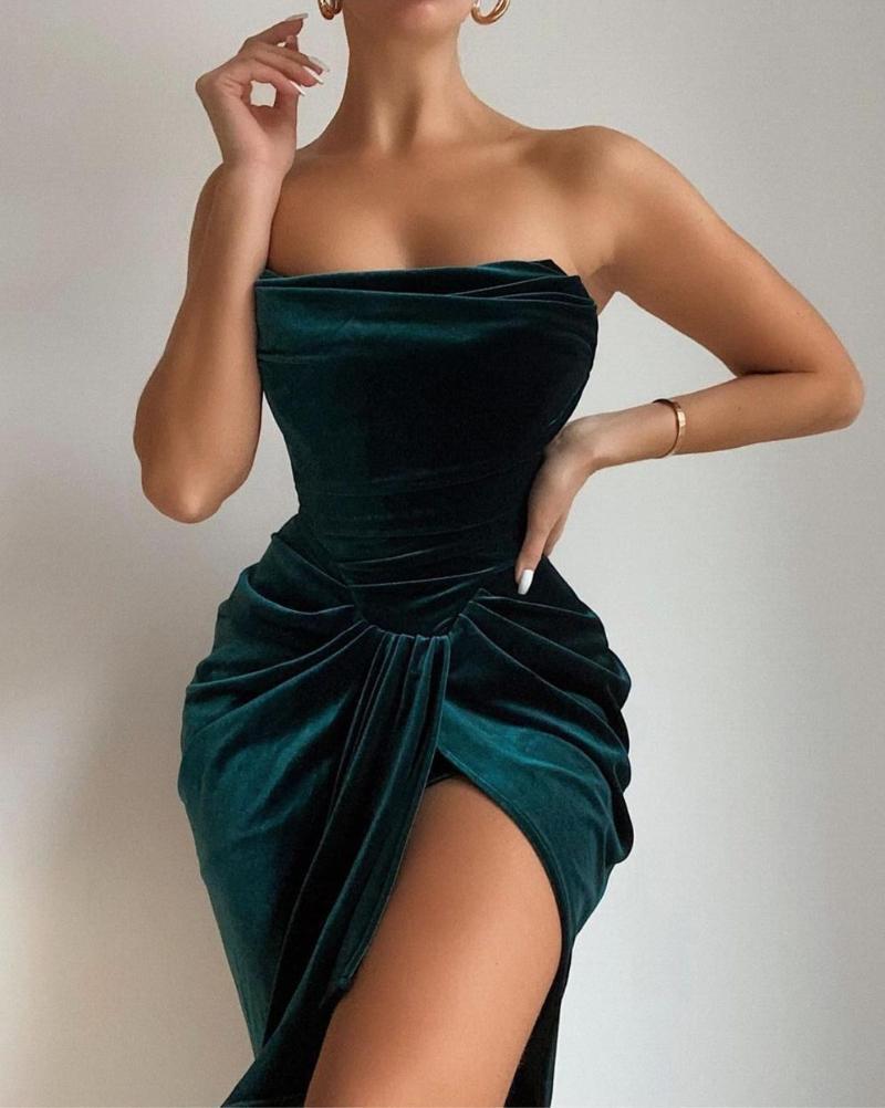 SWTAO Kadınlar Seksi Straplez Bölünmüş Yeşil Kadife Bodycon Elbise Kış 2021 Zarif Kulübü Balo Ünlü Parti Vestido Günlük Elbiseler