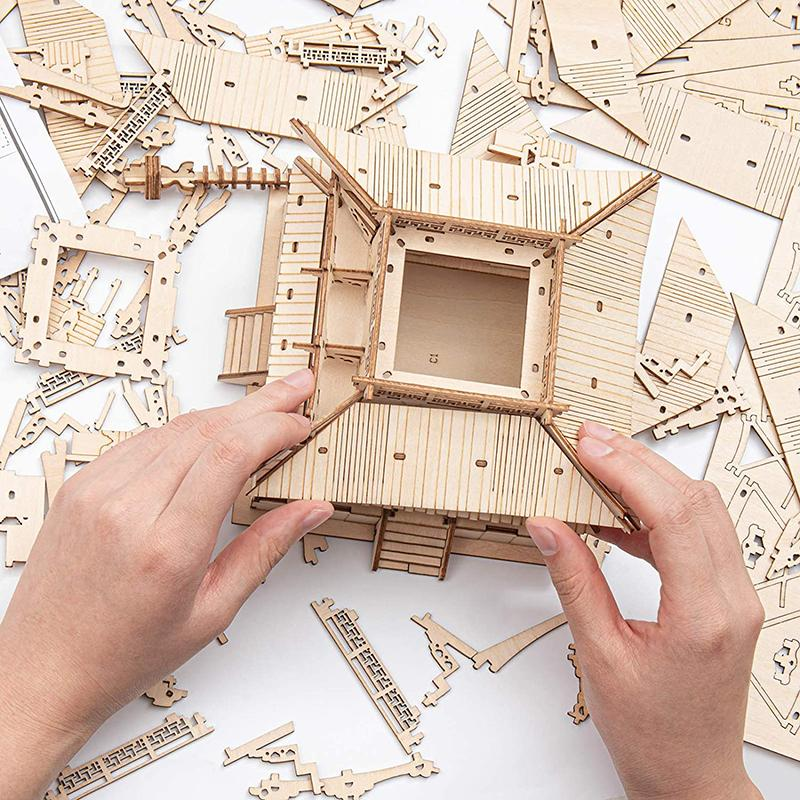 Five-storied Pagoda 3D Wooden Puzzle Toys For Children Kids Birthday Gift TGN02