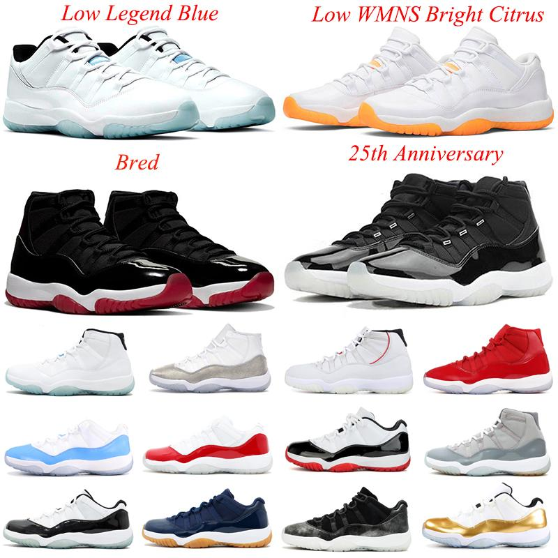 With box Easter 11s Bred Basketball shoes Mens 11 Low Legend Blue WMNS Bright Citrus Cap and Gown Men Women Sports sneakers 5.5-13