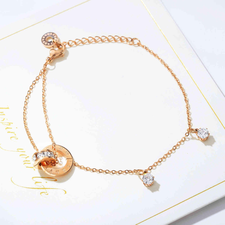 Простой двухслойный бриллиантовый браслет-браслет титановый сталь покрытый розовое золото двойной кольцевой зажимной кольцом Slim O-цепи браслет