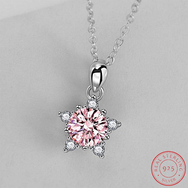 2021 Trendy White yellow pink Color snowflake Pendant Necklaces for Women Anniversary Gift Jewelry Wholesale XD125