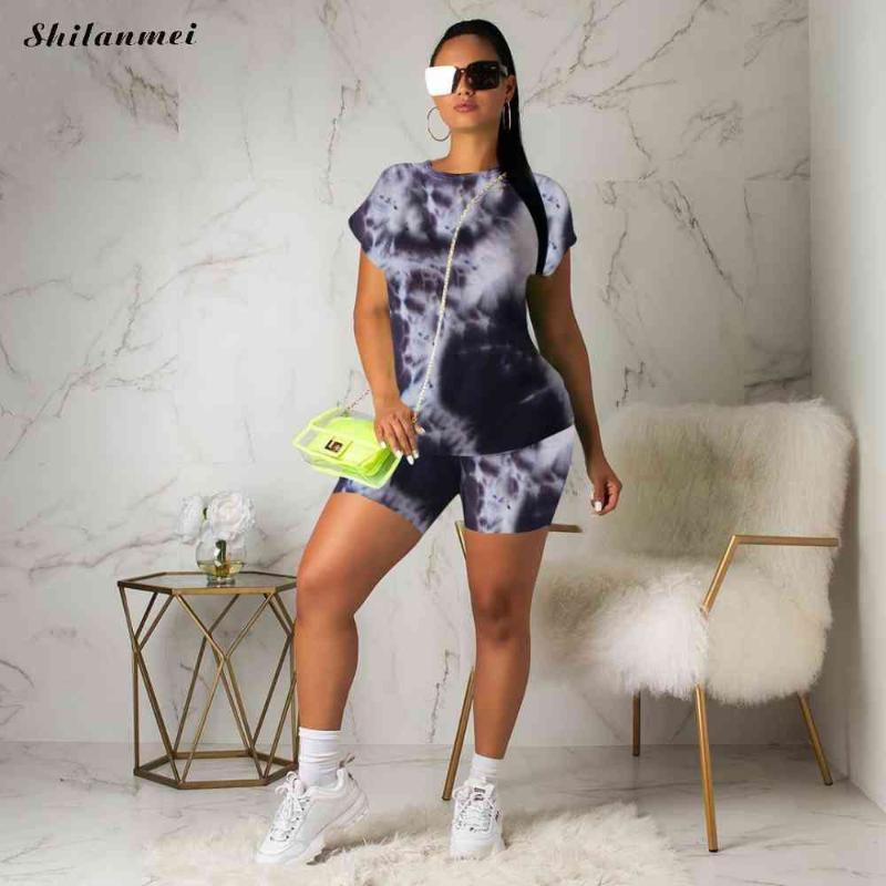 Галстук-краситель 2021 Модный трексуит для женщин повседневные шорты 2 шт. Набор с коротким рукавом и костюмы женские наряды 2xL женские трексуиты