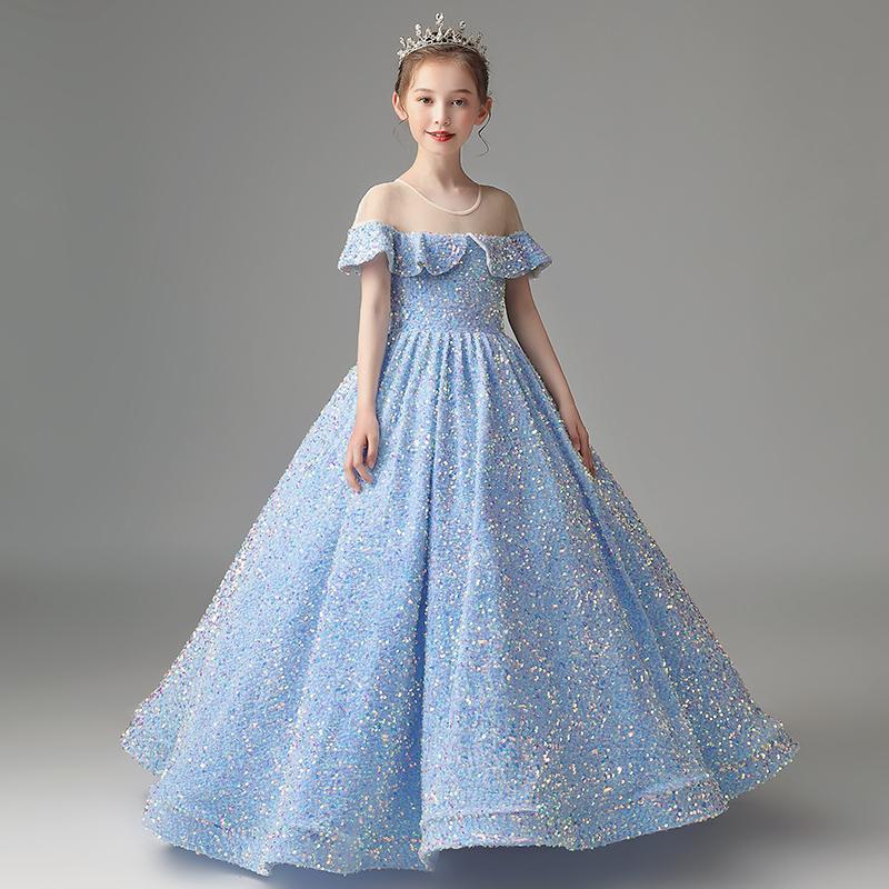 Fancy Light Sky Blue Flower Girls Kleider Sheer Halsausschnitt Funkelnde glänzende Pailletten Stoff Ballkleid Mädchen Partykleider