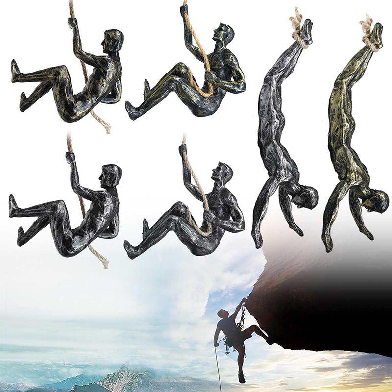 Retro Rock Klettern Figuren Skulptur Anhänger Home Bar Wand Hangende Dekoration Kreativer Harz Extreme Sport Muskeln Mann Statuen Ornamente