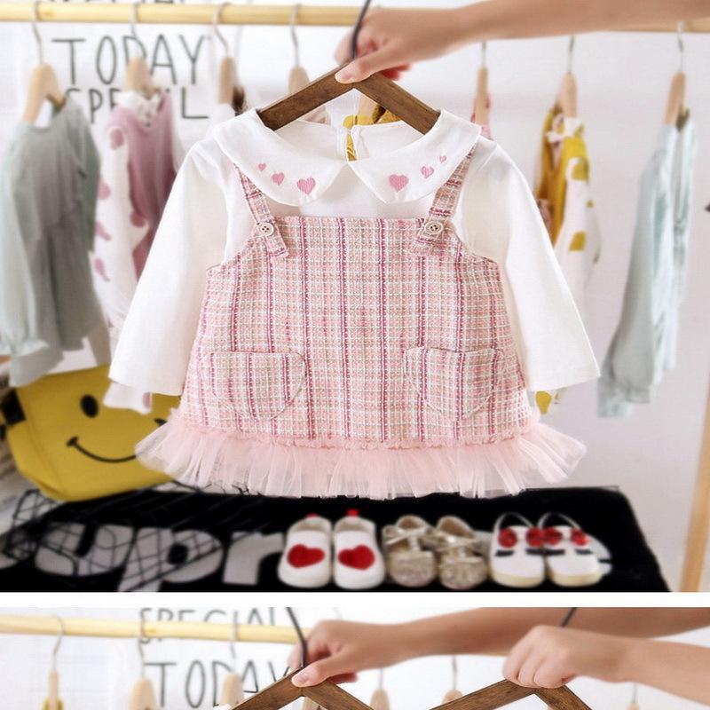 의류 세트 봄 여자 2-PCS 사랑 하트 피터 팬 칼라 탑 + 레이디 스타일 격자 무늬 패션 옷 복장 E9001 Dazz