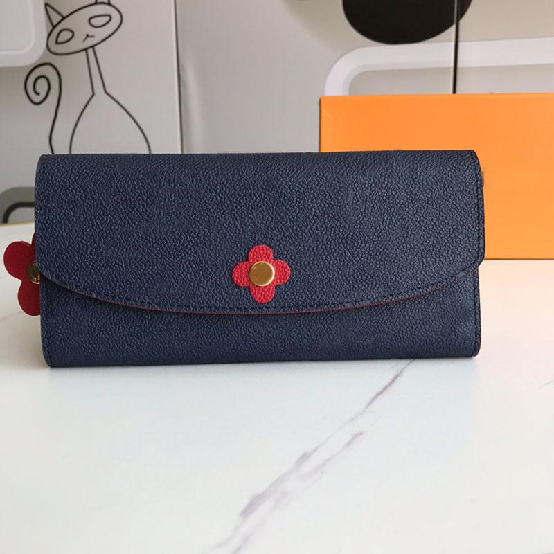 Zipper Purse Women's Wallet Flap Clutch Bag Female Long Wallets Genuine leather Fashion Letter Blooming Flowers Card Holder Pocket Women Hand bags with Dustbag Box