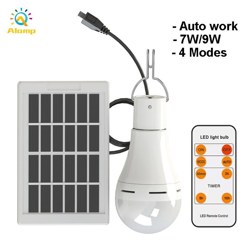 7W 9W المصباح الشمسي لمبة 4 أوضاع الإضاءة قابلة للشحن حديقة في الهواء الطلق ضوء داخلي bub solars لوحة الأضواء مصابيح الطاقة المحمولة