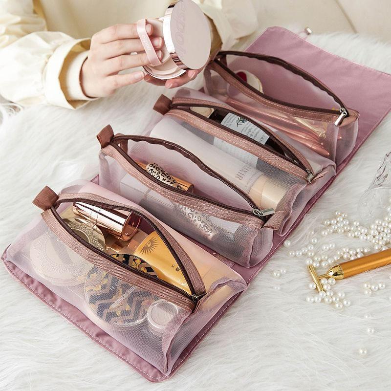 Dans 1 2021 Fashion Vente Sac à cosmétiques Femmes de maquillage séparable Pochette de la pochette Nylon Cosmétiques Sacs Sacs