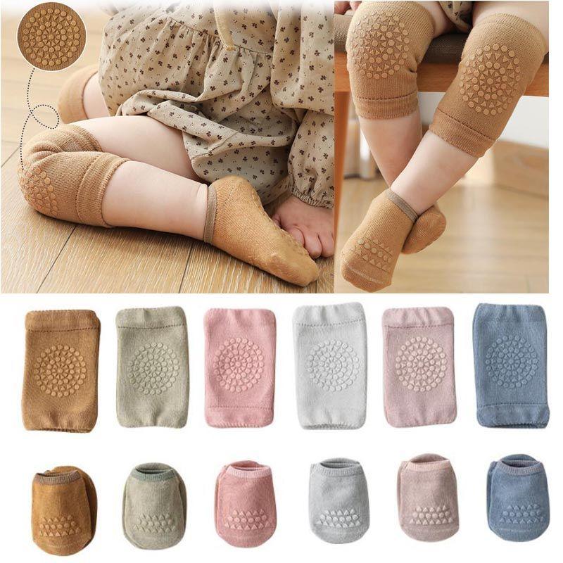 6 colores Baby Kid Socks Slip Rodilla Protector para la almohadilla de arrastre Tumble Boy Girl Algodón Transpirable Pierna Calentador 0-3T