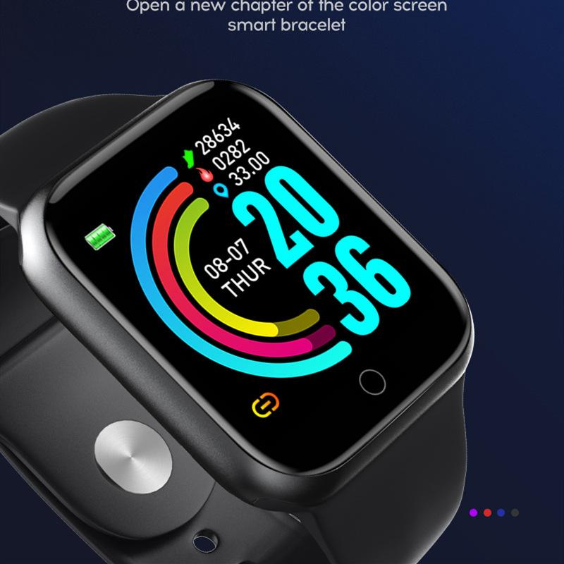 Y68 Smart Montres Hommes Femmes Récompense cardiaque Sport sanguin Sport Waterpoof Sport Bluetooth D20 Bracelet intelligent pour Android IOS Horloge