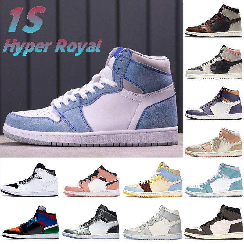Hyper Royal 1 1S Basketball Chaussures Soutair Soutair Neutre Gris Crimson Wolf Sail Travis Scotts Hommes Sneakers Femmes Formatrices US 5.5-12