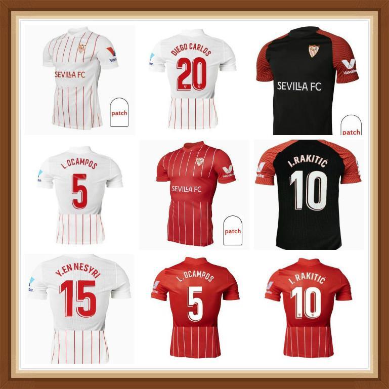 21 22 FC Sevilla Soccer Jersey 2021 2022 Sempre Banega En-Nesyri Navas de Jong El Haddadi Reguilon Camisa de Futebol Homens Crianças Camisetas Futbol