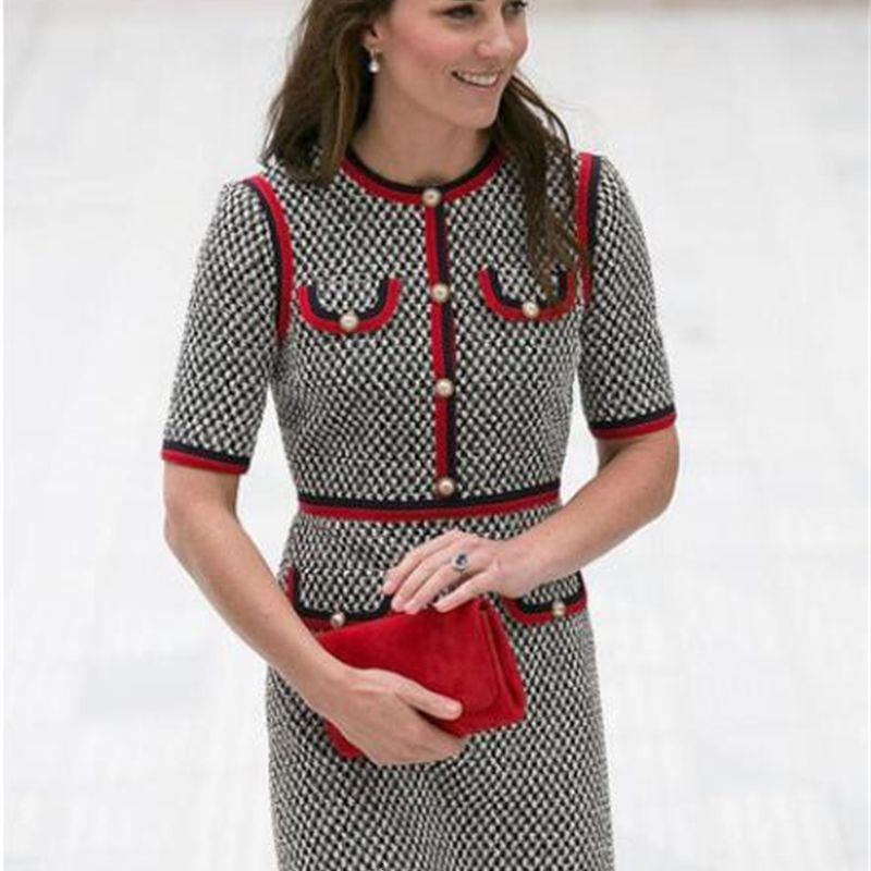 Kate Middleton Tweed Delle Donne Vestito Abiti Vestidos Fitto Thread ThreadSototh Abiti patchwork con scollo rotondo manica corta Abito sottile