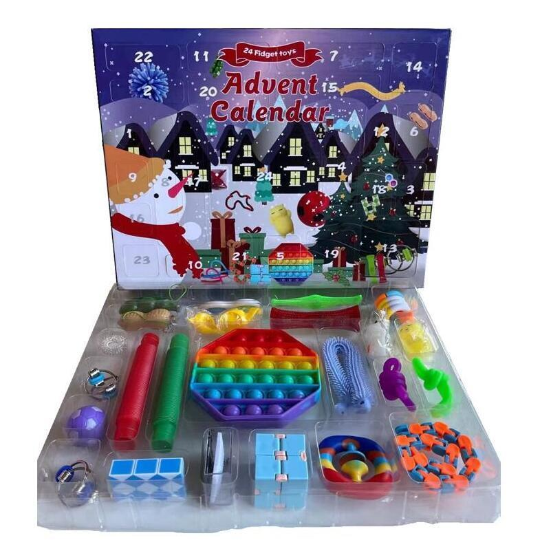 Party Favore 24 Pz Set Natale Fidget Giocattoli Xmas Countdown Calendario Sensory Pack Avvento Calendario Cassetto di Natale