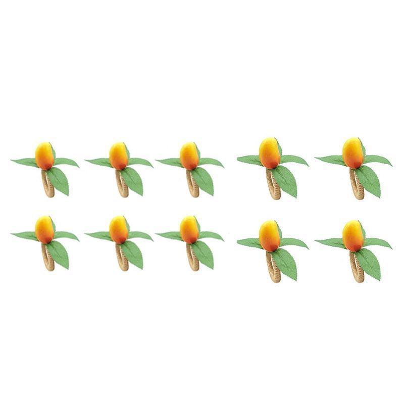 Napkin Rings Simulation Mango Fruit Ring Buckle For Wedding, Dinner Party, Xmas, Thanksgiving, Birthday