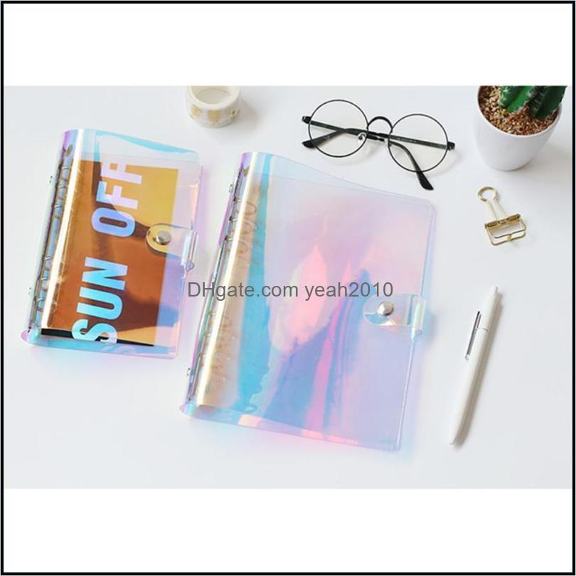 Notas Office Business IndustrialDazzling PVC Transparente Er Diário Notebook Jornal Escrita Sketchbook School Material (Colorf A5) Bloco de notas