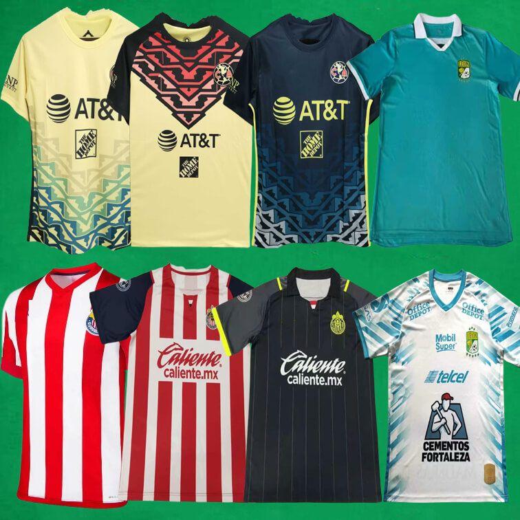 Liga MX 21 22 Club America Soccer Jerseys 2021 2022 Leon Chivas Guadalajara Home Away dritte Fußball Hemden Herren Sportuniformen